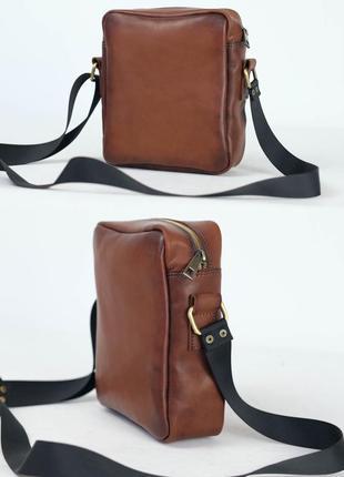 Кожаная мужская сумка из натуральной кожи итальянский краст ко...