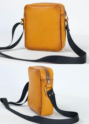 Кожаная мужская сумка из натуральной кожи итальянский краст цв...