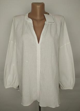 Блуза новая белая хлопковая летняя uk 14-16/l