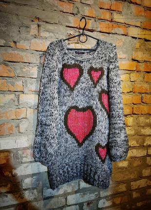Платье свитер туника джемпер длинный joe browns вязаный сердце...