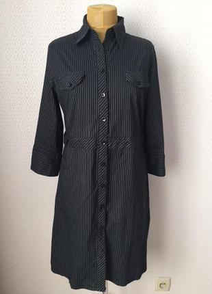 Классное платье-рубашка в вертикальную полоску большой размер ...