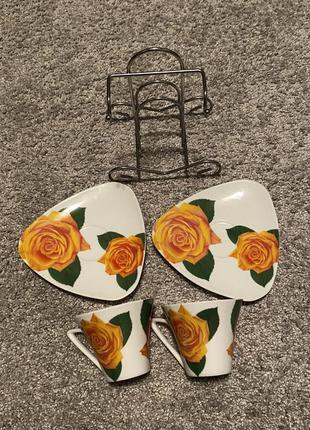 Сервиз на 2 персоны чашки и тарелки чашка тарелка подставка бл...