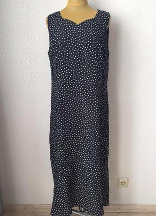 Классное летнее платье в горошек большой размер (нем 48, укр 5...