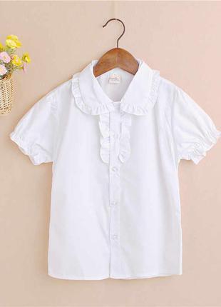 Блуза/сорочка з рюшами, з коротким рукавом, в школу, куплeна в...