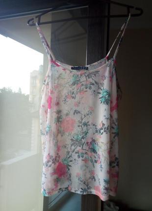 Легкая, полупрозрачная, летняя блузка, майка на бретельках в ц...