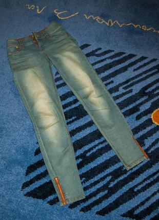 Джинсы по фигуре в обтяжку с замками скинни, класичні джинси t...