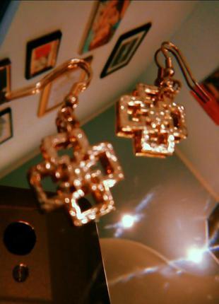 Золотисті кульчики/сережки/золотистые серьги, біжутерія|обмін ...