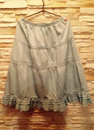 Летняя джинсовая трехярусная юбка большого размера (xl)