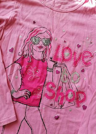 "Xлопкова кофта з написом ""love to shop"" легкая котонова ночнуш..."