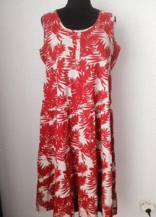 Яркое летнее платье свободного силуэта большого размера (uk 16...