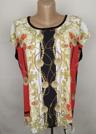 Блуза новая стильная комбинированная в принт papaya uk 12/40/m