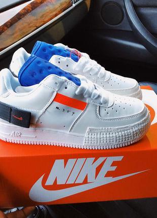 Nike air force 354 white/blue 🔺 женские кроссовки найк еир фор...