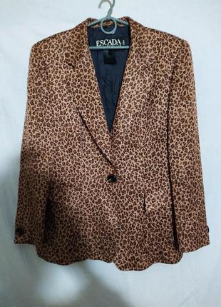 Пиджак леопардовый жакет шелковый escada оригинал шелк новый