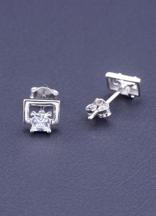 Серьги фианит серебро(925) 6х5 0782830