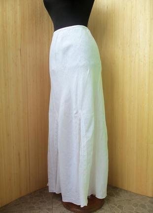 Льняная юбка макси с кружевом с поясом резинкой Италия