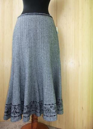 Шерстяная тёплая юбка колокол с вышивкой Gerry Weber