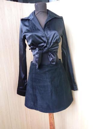 Замшевая юбка трапеция с высокой талией benetton