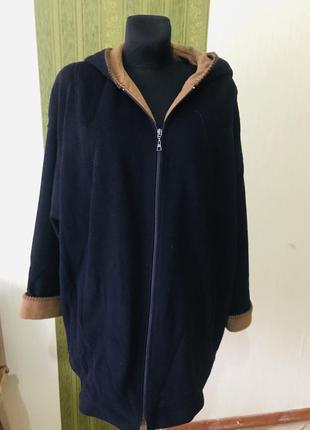 Кашемировое пальто/куртка с капюшоном большого размера
