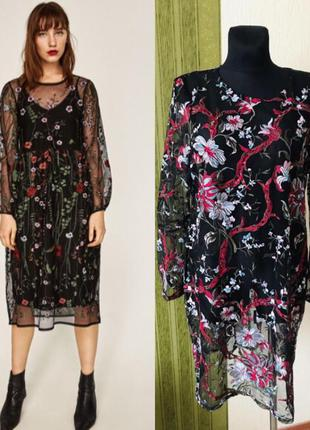 Прозрачное платье/ накидка в цветах