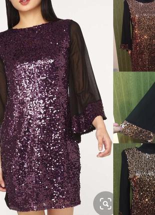 Вечернее платье в пайетках золото