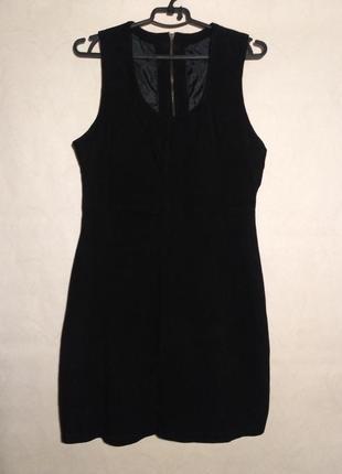 Платье сарафан без рукавов натуральная замша черное goosecraft