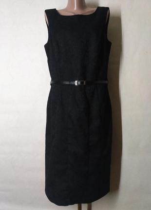 Платье миди футляр черное с поясом для высоких на высокий рост
