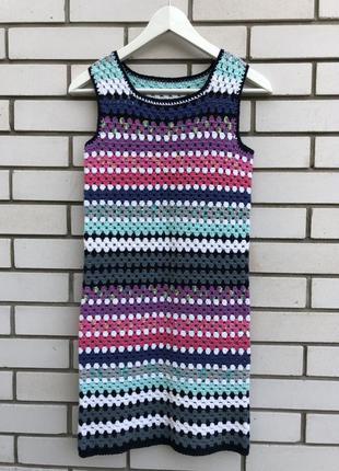 Платье,туника,сарафан вязанный,ажурный,пляжный в разноцветную ...