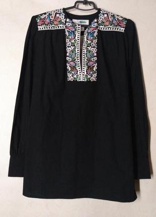 Блузка вышиванка черная с длинным рукавом