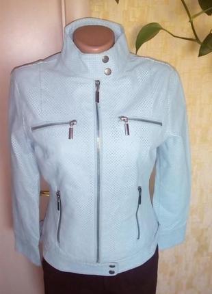 Эксклюзив!голубая куртка из 100 % кожи/куртка/бомбер/пиджак/ка...