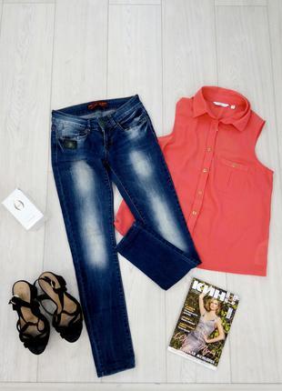 """Стильные актуальные синие джинсы ускачи скинни""""red blue"""""""