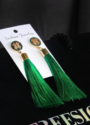 Серьги кисточки длинные зеленые