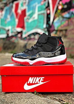 Nike air jordan 11 чёрные с красным ♦ мужские кроссовки ♦ весн...