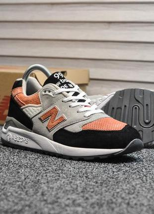 Кроссовки new balance 998 gray black orange