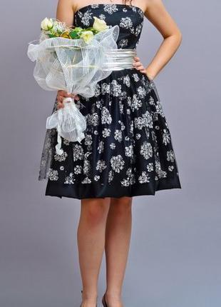 Элегантное выпускное платье вечернее черное + сумочка гипюр круже