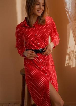 Стильное платье в горох ткань софт