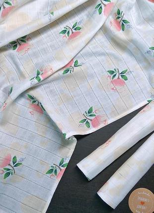 Муслиновая пеленка + 2 салфетки