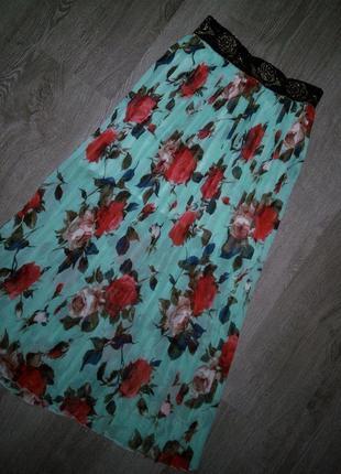 Яркая 😱😍бирюзовая плиссированная юбка в цветы миди