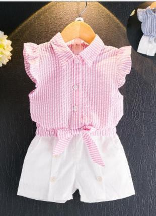Летний коттоновый костюм.  блузка шорты