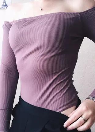 Боди в рубчик лавандового цвета Zara