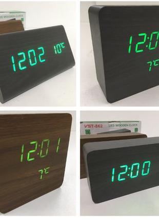 РАЗНЫЕ! Электронные настольные часы будильник с термометром по...