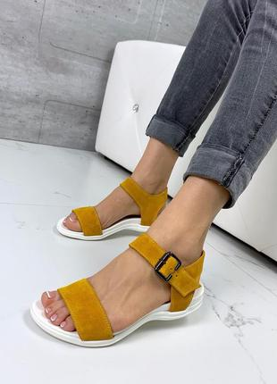 ❤ женские желтые замшевые босоножки ❤