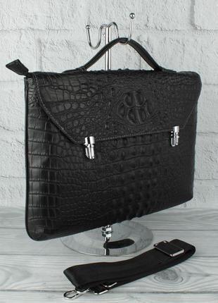 Кожаный портфель, сумка для документов 2417 b 259-1 черная кроко