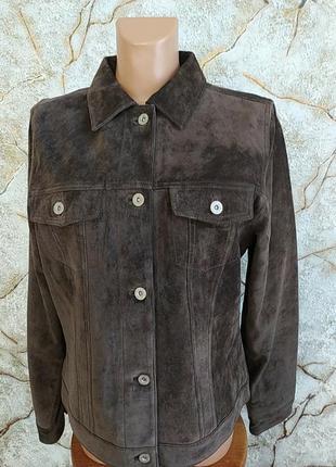 Американская брендовая кожанная приталенная женская куртка пиджак