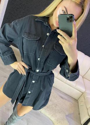 Джинсовая рубашка серая женская