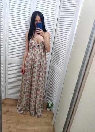 Платье в пол bershka в цветочный принт, p-p s-m