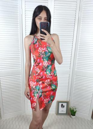 Платье коралловое в цветочный принт missguided, p-p м-l