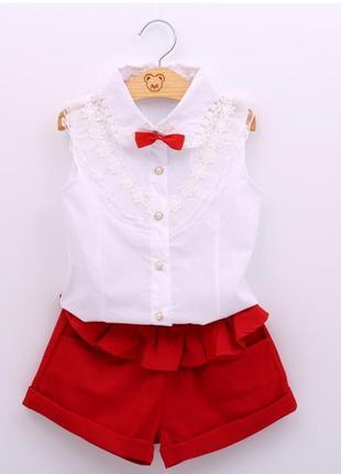 Стильный костюм для девочки шорты блуза