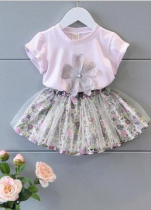 Симпатичный летний костюм футболка юбка