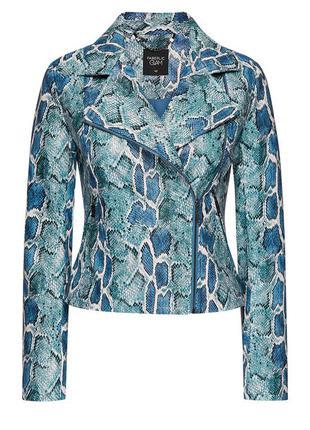 Куртка косуха голубой питон, с анималистичным принтом