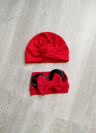 Шапка повязка на девочку красная